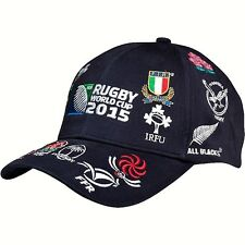 Rugby World Cup 2015 20 Nations Cotton Baseball Cap - Navy Embroidered Logos NEW