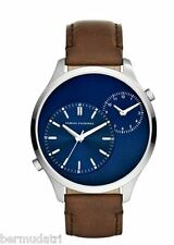 NIB ARMANI EXCHANGE Mens AX2162 Dual Time WATCH-BrownLEATHER STRAP-Blue Dial