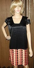 Just Cavalli black MULTI Signed Print 100% SILK Dress sz 42 new