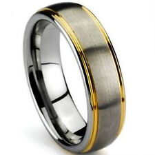TITANIUM Satin Polished RING BAND with Gold Plated Grooves, size 8 - in Gift Box