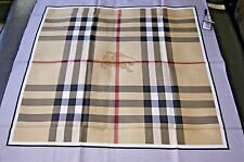 New Authentic Women's Burberry Medium Beige Check Gray Border Silk Scarf