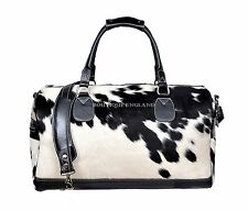 New Men's Large COW Print Fur Black Real Cow Hide Leather Weekend Holdall Bag
