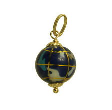 14K Yellow Gold Hollow Small Color Enamel Globe World Planet Earth Charm Pendant