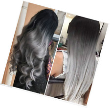 20 Inches Black Grey Syntheic Full Head Ombre Balayage Curly Wavy Clip in...