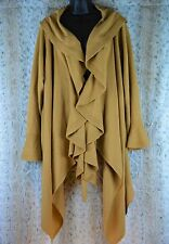 Hot In Hollywood Cardigan Sweater Waterfall Neckline Ochre Yellow 1X to 2x A0047