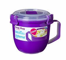 Sistema Purple Klip It Microwave Soup To Go Mug 565ml Clip Lid Plastic Lunch New