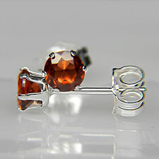 4mm FACETED ROUND GENUINE PEACHY RED GARNET 925 STERLING SILVER STUD EARRINGS