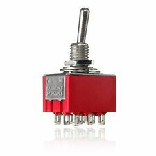 5Pcs Mini Toggle Switch For 3PDT 2 Position On-On 9-PIN