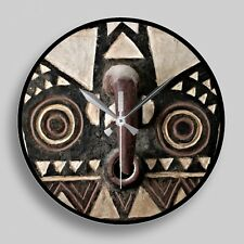 Bobo Bwa Hawk Mask Design ~ ROUND WALL CLOCK / Compelling African Art Design