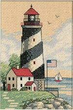 Counted Cross Stitch Kit LIGHT AT SEA Mat Incl. Lighthouse Seashells Dimensions