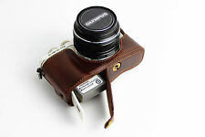 Coffee Leather Bottom Case Half Cover For Olympus E-PL7 camera EPL7 BLACK SILVER