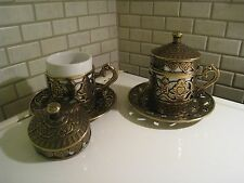 Vintage Ottoman Turkish Coffee Espresso Cup  Copper Saucer Porcelain Vintage