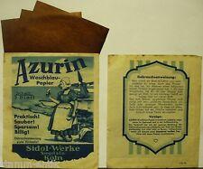 alte orig.Tüte,Azurin Waschblau Papier,blau färben,Sidol Werke,Siegel & Co,Köln