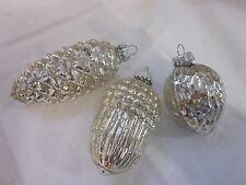 SET 9 SILVER VINTAGE BLOWN MERCURY GLASS ACORN PINECONE NUTS CHRISTMAS ORNAMETS