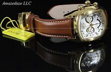 Invicta Mens Dragon Lupah Quartz Chronograph Stainless Steel Leather Strap Watch