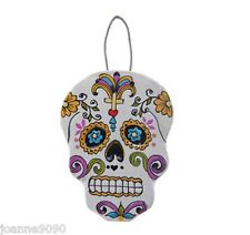 HANDMADE SUGAR SKULL DAY OF THE DEAD WOODEN HANGING DECORATION RETRO HOME GIFT