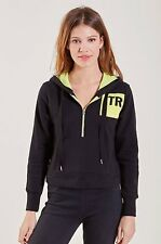 NWT TRUE RELIGION JEANS $159 BLACK NEON HIT ZIP FRONT HOODIE SZ XS EXTRA SMALL