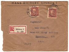Registered cover, Sweden, Göteborg to New Jersey, 1928