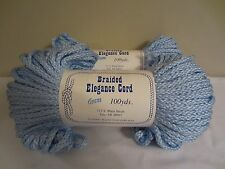 Lot of 2 Rolls of Light Blue 6mm Braided Elegance Macrame Cord 200yds