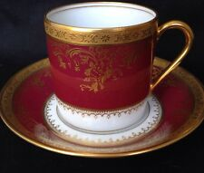 Haviland Limoges Pompadour Red capuccino coffee tea cup and saucer. 2!available.