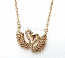 18K Yellow Gold Plated Swan Lover Charm CZ Cubic Christmas Birthday Necklace