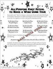 Knot Magic Wish Spell 1pgParch fr Wicca Book of Shadows Witchcraft Pagan Rituals