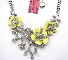 Betsey Johnson Shiny crystal beautiful yellow plum Necklace#213L Y