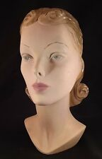 Antique Art Deco US Plaster Audrey Hepburn Mannequin Head Lady 1940 chalk