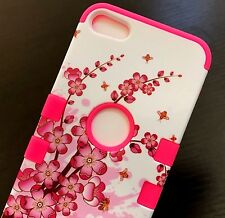 For iPod Touch 5th & 6th Gen - HYBRID HIGH IMPACT CASE COVER PINK SPRING FLOWERS