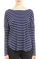 NWT $310 VINCE NAVY STRIPED WOOL CASHMERE BOATNECK SWEATER SIZE L