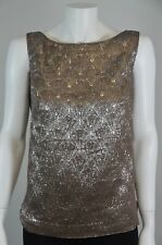 Ports 1961 Brown/Silver Shimmer Silk Evening Top Size 0 On Sale Sh
