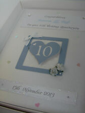 Personalised 10th Wedding Anniversary Card, Swarovski crystals, boxed