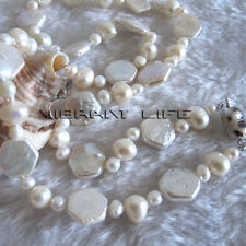 "20"" 4-10mm White Off Round Coin Freshwater Pearl Necklace U"