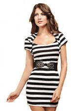 Black And White With Belt And G-String Print Mini Party Dress