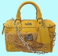 COACH 36478 RHYDER Banana Shearling/Leather Satchel & Shoulder Bag $295