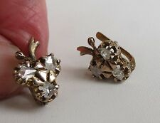 Antique estate Victorian era 14k Yellow Gold rough diamonds earrings