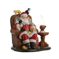 Christmas Candle Lamp Sleeping Santa with Dogs and Cats 3209328 NEW RAZ Imports