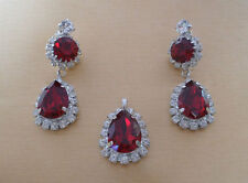 Glitzy Rocks Made with Red Swarovski Element Crystal Teardrop Pendant & Earrings