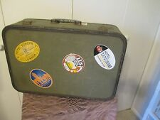 Vintage Suitcase Luggage Travel Bag Forest Green MID CENTURY W/LUGGAGE TAGS