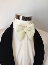 Mens FERUCCI Oversized Bow Tie - White Cream  Velvet Bowtie, Mens big bow tie