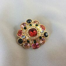 Vintage Joan Rivers   Brooch pin Multicolor Gold Tone