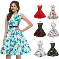 Ladies Ophelia Floral Vintage 50s Retro Party Prom Swing Tea Dresses