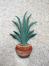 "#4251S 3-1/8"" Snake Plant Flower Pottery Embroidery Iron On Appliqué Partch"
