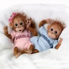 ASHTON DRAKE DOUBLE TROUBLE Baby Orangutan MONKEY Doll Twins Set NEW