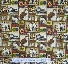 Country Patchwork Quilting Fabric Pussy Cats Squares Cotton Sewing 50x55 FQ New