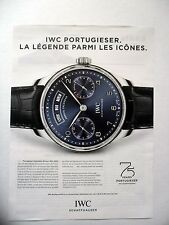 PUBLICITE-ADVERTISING :  IWC Portugieser 5035 - 75 ans  2015 Montres