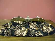 Black with Gold Brocade Beaded Evening Bag, Clutch or Strap, Box Bottom