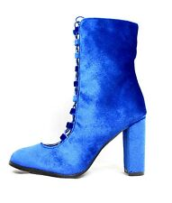 Sheila Velvet Chunky High Heel Ankle Lace Up Round Toe Boot Bootie Shoes