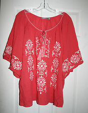 NY Collection 1X Plus BOHO Top Smocked Embroidered Coral 100% Cotton NWT