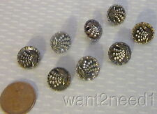 "antique 19C STEEL METAL BUTTONS SET 8 diminutive 1/2"" raised leaf spray fan"